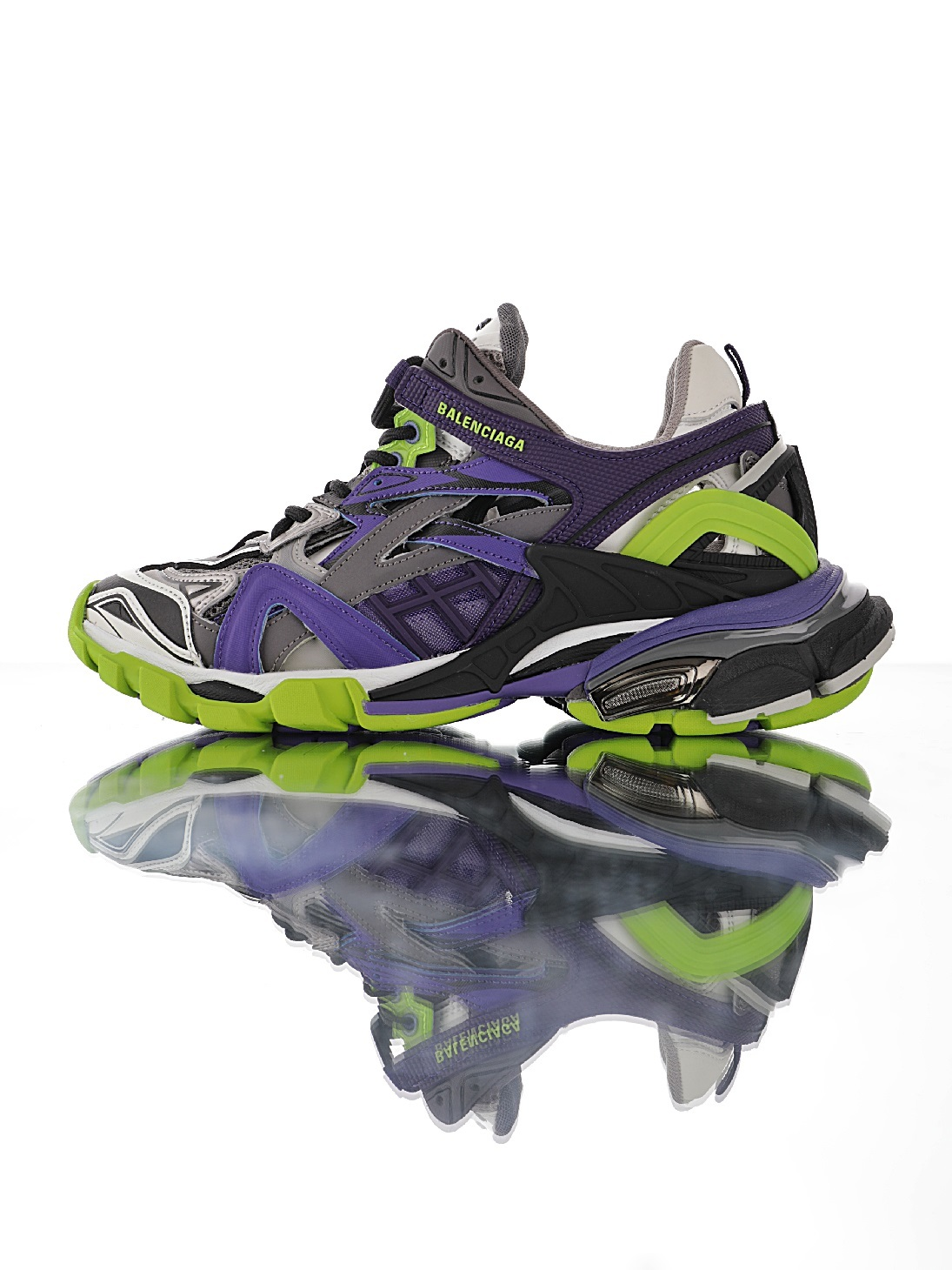 "巴黎世家BALENCIAGA Track 2 Sneakers""Clown/Purple/Green""轨道2代复古野跑姥爹潮流百搭慢跑鞋""镂"