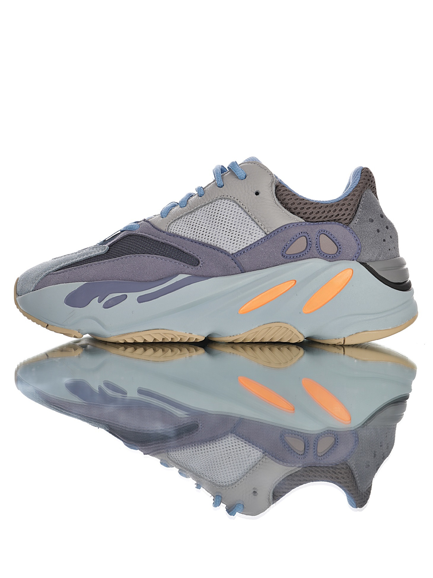 "Adidas Originals Yeezy Boost 700 V1""Carbon Blue""复古爆米花中底姥爷慢跑鞋"" 碳蓝多色拼接""F"