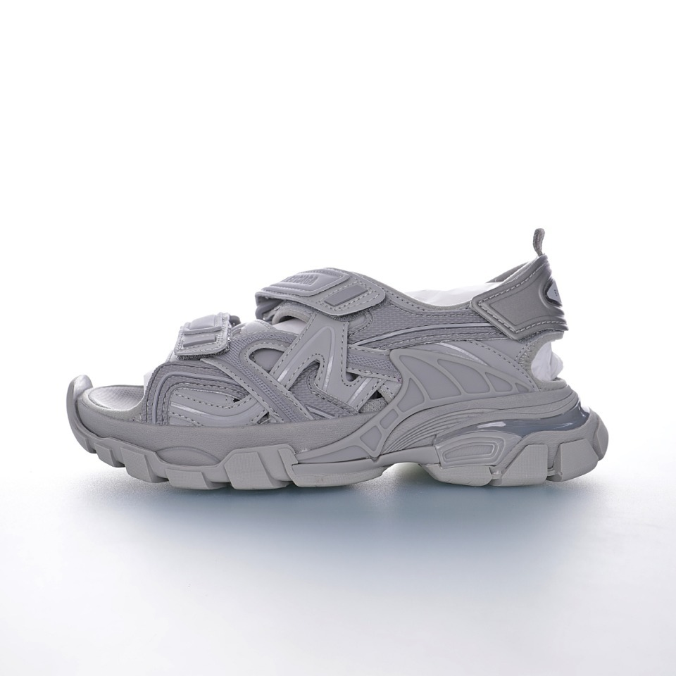 "Balenciaga巴黎世家 Track Sandal Sneakers""Grey/Black""轨道2代改良复古野跑姥爹潮流百搭女神露趾凉鞋"